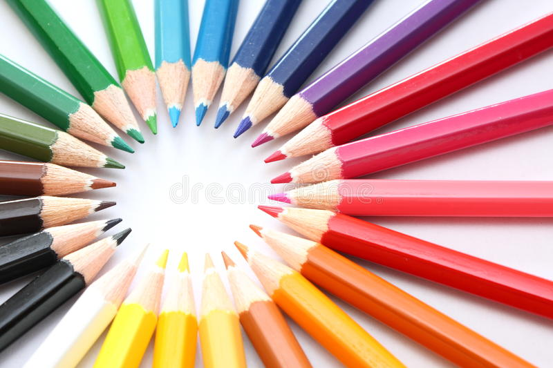 Group of pencils. Multicolor pencils forming a color circle isolated on white background stock images