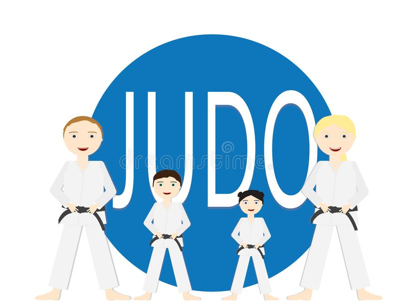 Group of people adults and kids standing infront a bif Blue circle with the word JUDU. Group of people adults and kids with Judo uniforms and black belt standing royalty free illustration