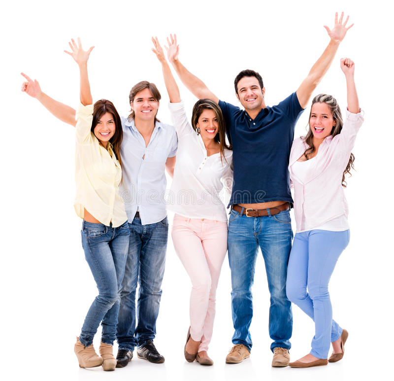 Group of people with arms up