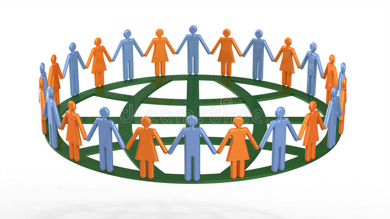 Download Group Of People Around Globe Symbolic Stock Illustration - Image: 13467981