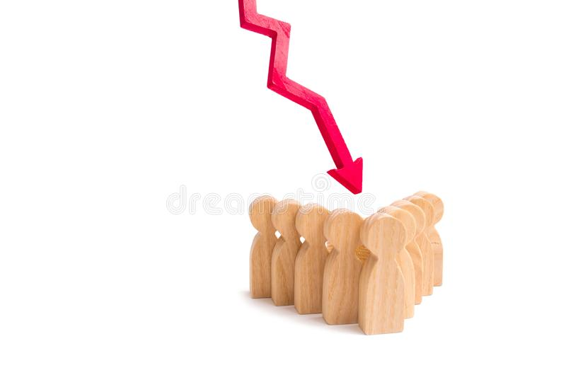 A group of people in an arrow formation and a red down arrow. Concept of falling team morale. Low supply of qualified personnel royalty free stock photo