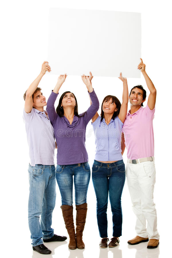 Download Group Of People With Banner Stock Photo - Image: 21987162