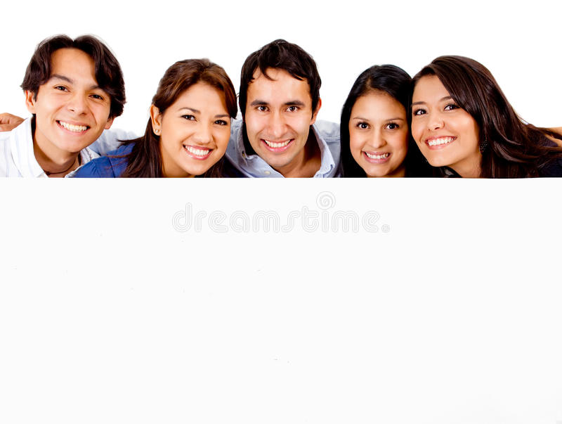 Group of people with banner