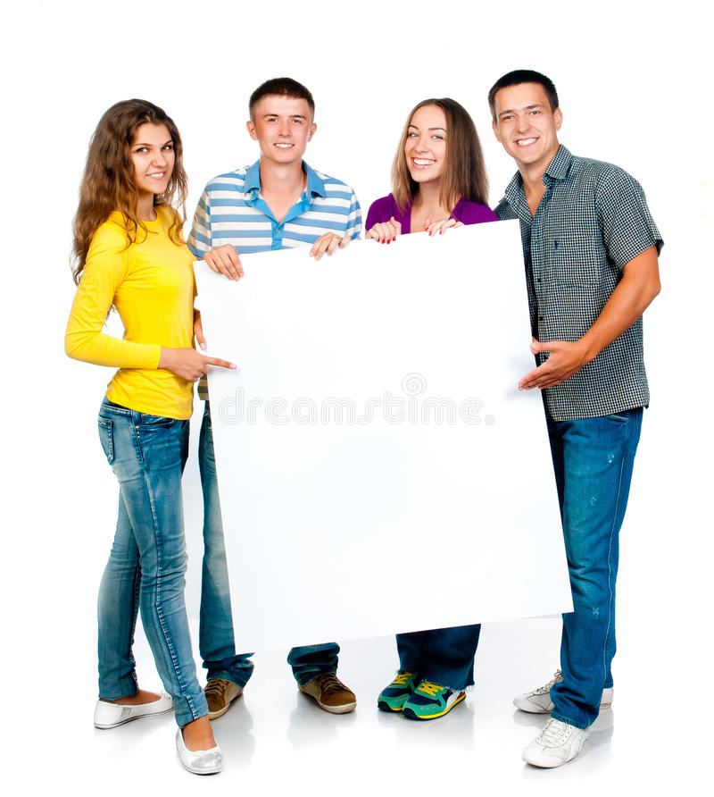 Download Group people with banner stock photo. Image of girls - 26434994