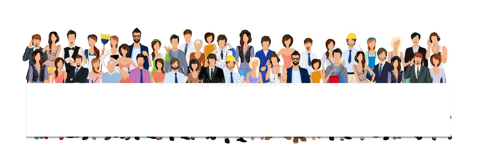 Group people banner. Large group crowd of people adult professionals paper horizontal banner vector illustration stock illustration