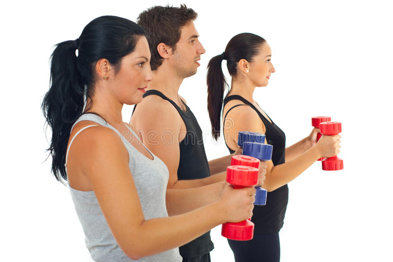 Group of people with barbell royalty free stock images