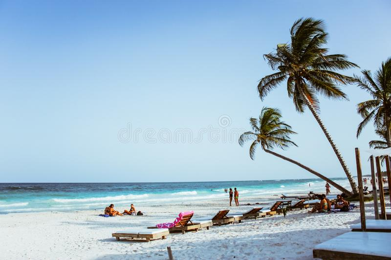 Group of People on Beach royalty free stock photography