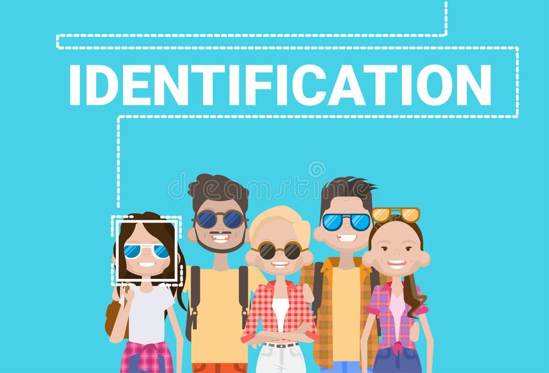 Group Of People Biometric Identification Face Scanning System Modern Access Control Technology Recognition Concept. Vector Illustration vector illustration
