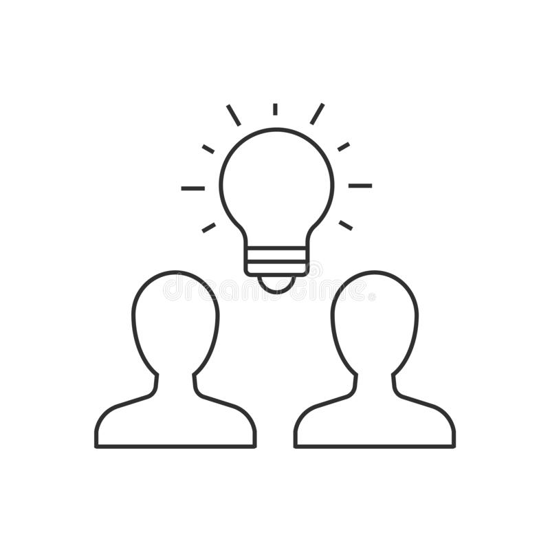 Group of people brainstorming outline icon stock illustration