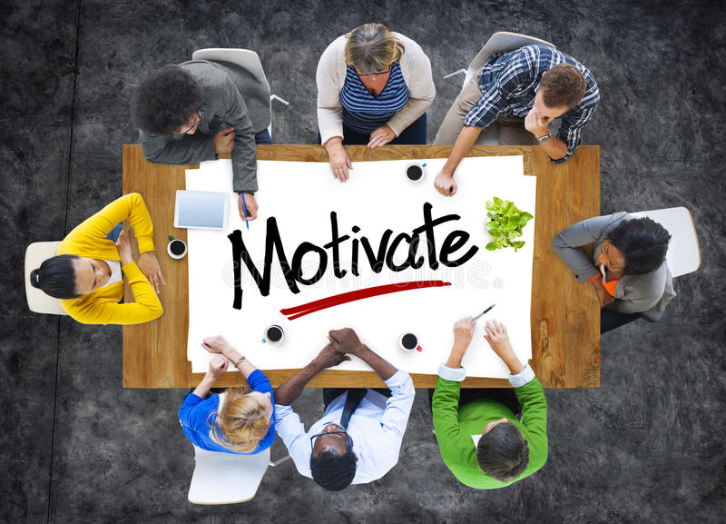 Group of People Brainstorming about Motivate Concept stock photos