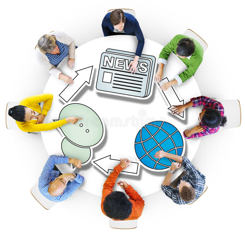 Group of People Brainstorming with System Concepts.  stock images
