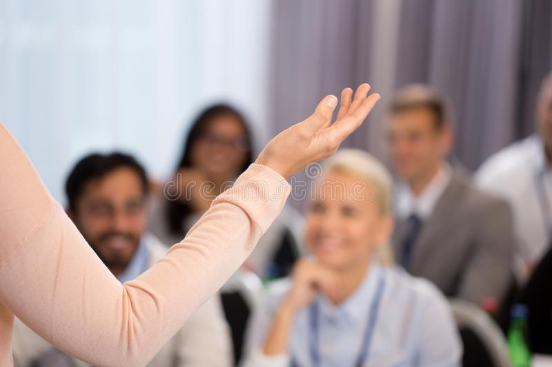Group of people at business conference or lecture stock photography