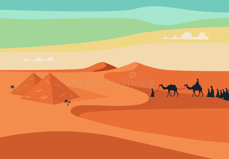 Group of People with Camels Caravan Riding in Realistic Wide Desert Sands in Egypt. Editable Vector Illustration stock illustration