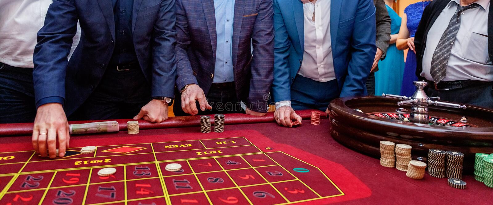 Table with Roulette stock photo