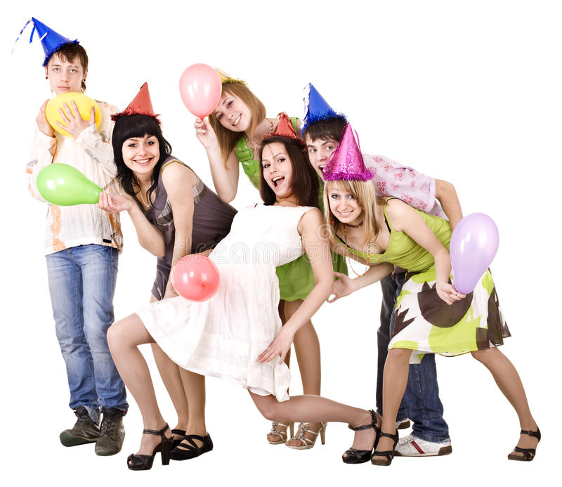 Group of people celebrate birthday. Isolated royalty free stock photography
