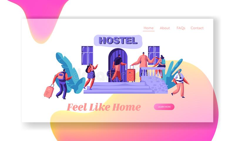 Group of People Character Arrive to Hostel Appartment Landing Page. Budget Traveling Accommodation Concept Website. Group of People Character Arrive to Hostel stock illustration
