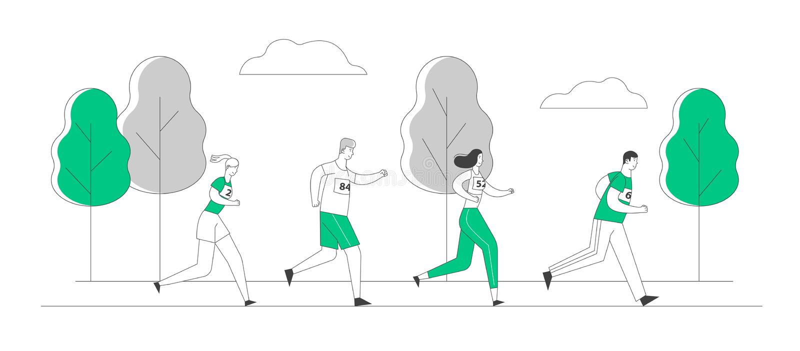 Group of People Characters Running Marathon Distance in Raw. Sport Jogging Competition. Athlete Sprinter Sportsmen. And Sportswomen Run Marathon Sprint Race stock illustration