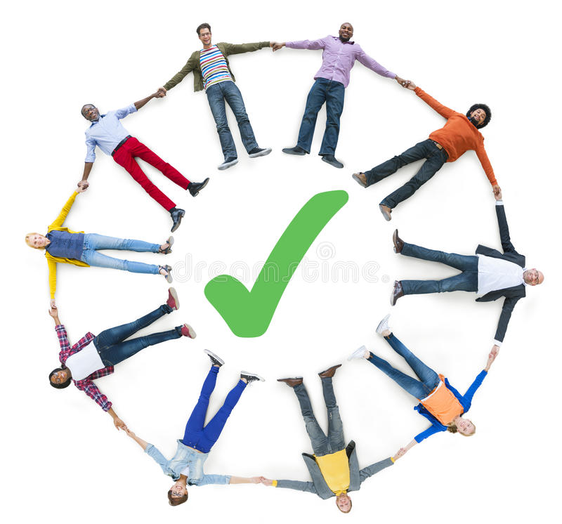 Group of People with Checked Mark.  royalty free stock photo