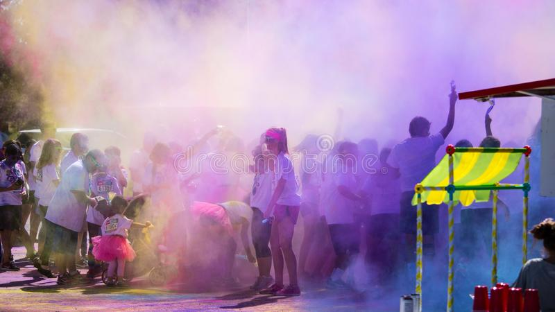 Group of People Color Powder Festival royalty free stock image