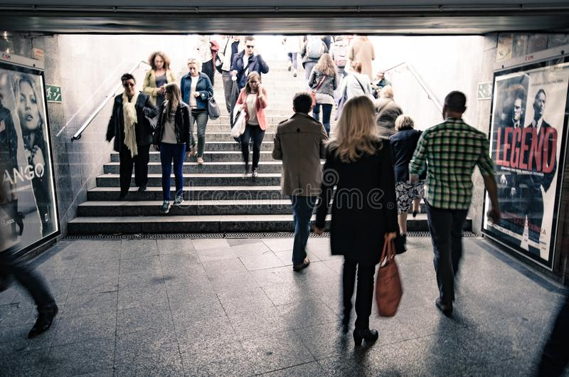 Group of People on Concrete Pavement royalty free stock photo