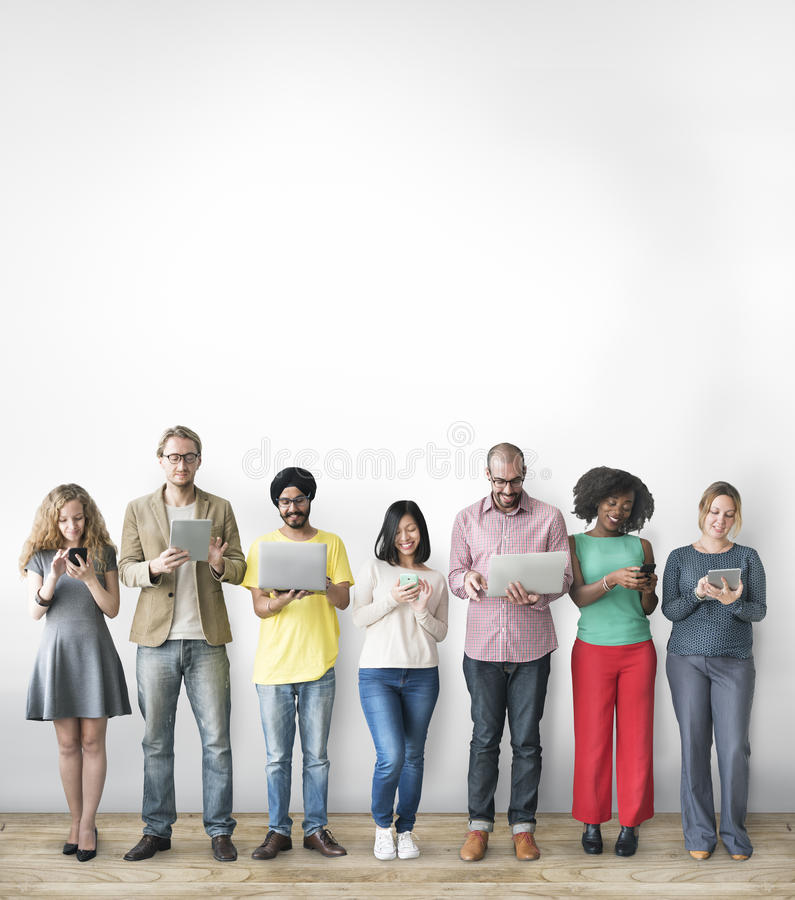 Group of People Connection Digital Device Concept.  stock photos