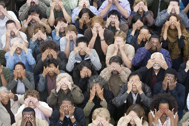 Download Group Of People Covering Eyes With Hands Stock Photo - Image of lifestyle, people: 29654846