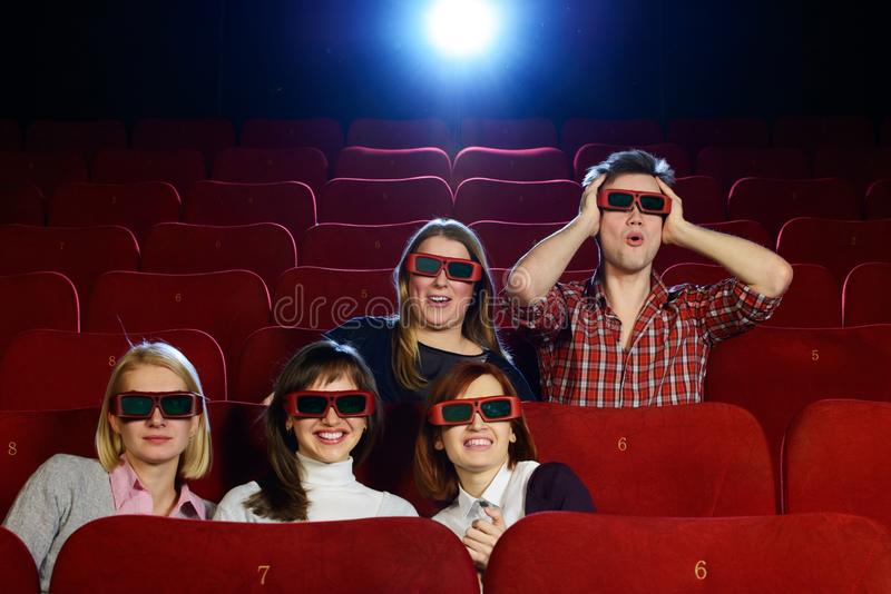 Group of people in 3D glasses royalty free stock photography