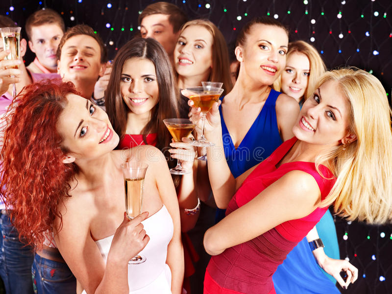 Group People Dancing At Party. Royalty Free Stock Photography