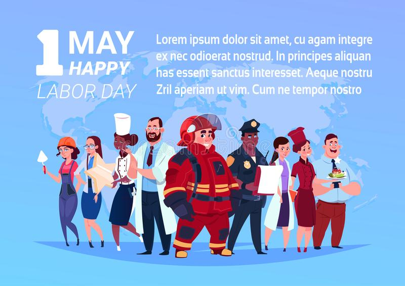 Group Of People Of Different Occupations Standing Over World Map Background Happy 1 May Labor Day Poster stock illustration