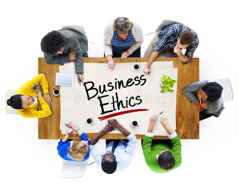 Group of People Discussing About Business Ethics. Multiethnic Group of People Discussing About Business Ethics stock image