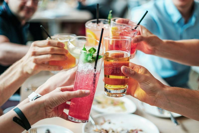 Group of People Doing Cheers stock photo