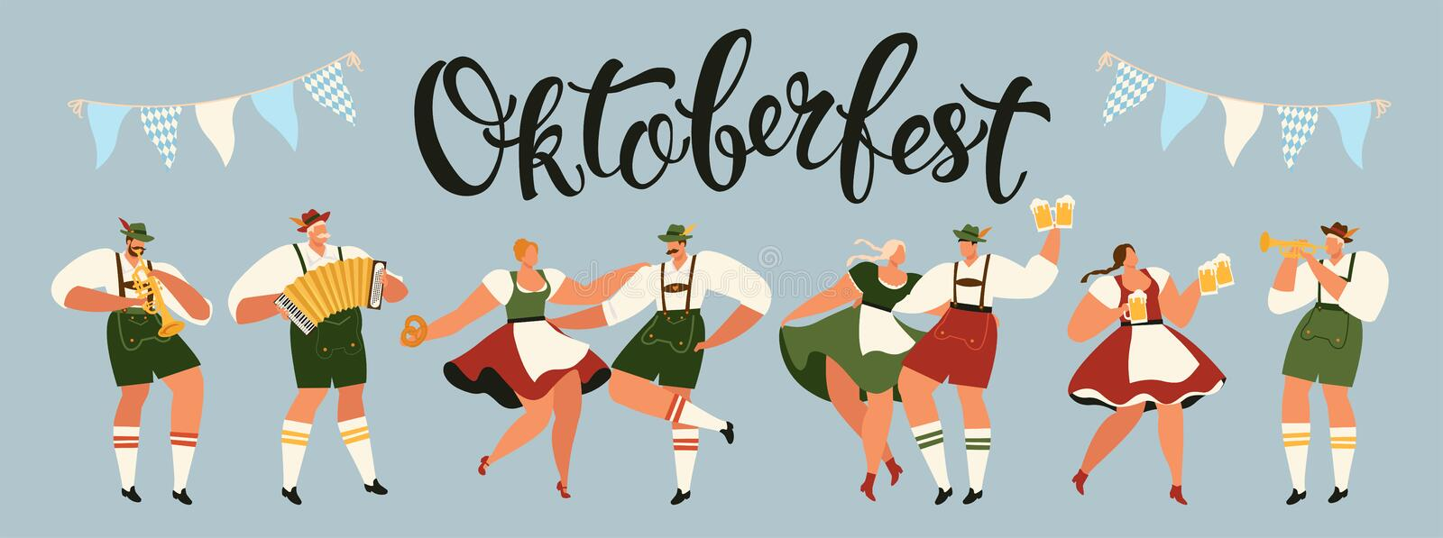 Group Of People Drink Beer Oktoberfest Party Celebration Man And Woman Wearing Traditional Clothes couples dance stock illustration