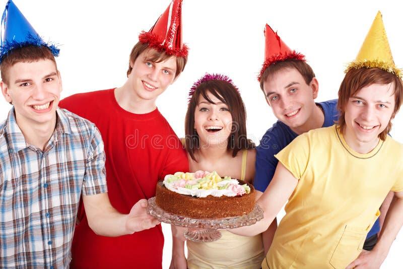 Download Group people eat cake. stock image. Image of cake, cream - 14919469