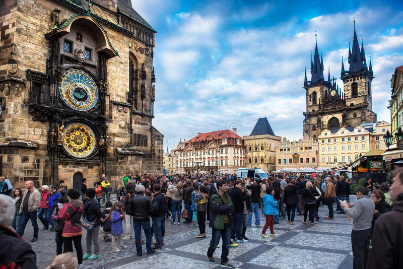 Group of people enjoy autumn market at Vaclavlske namnesti in Prague on October 17, 2014 in Prague. royalty free stock photos