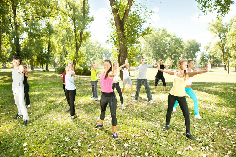 Group of people exercising yoga in park royalty free stock photo