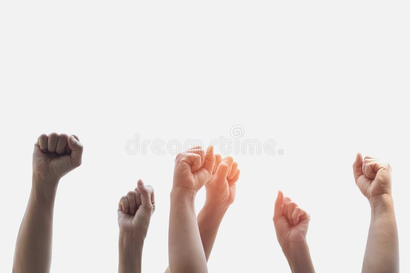 Group people of fists raised. With sunlight royalty free stock image