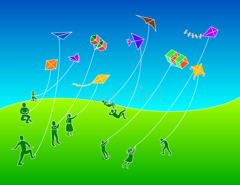 Group of People Flying Kites royalty free stock photo
