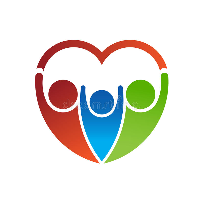 People Logo forming a heart. stock images