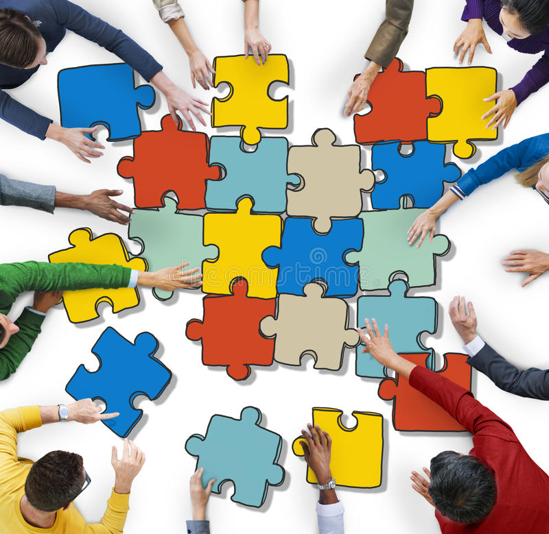 Group People Forming Jigsaw Puzzles Concept. Group of People Forming Jigsaw Puzzles royalty free stock photography