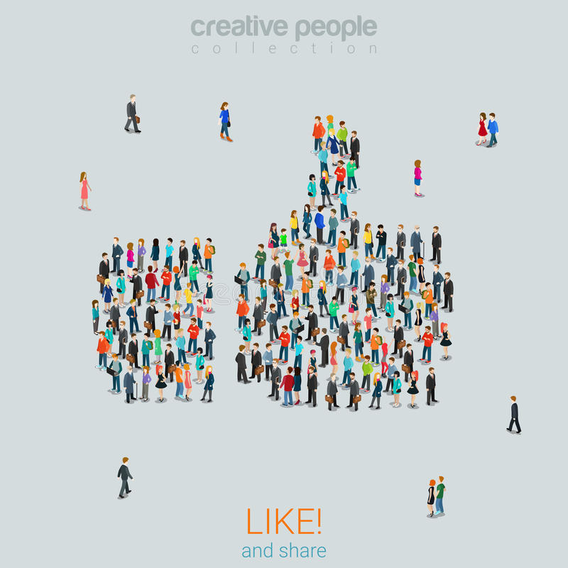 Group people forming like thumbs up sign flat vector isometric stock illustration