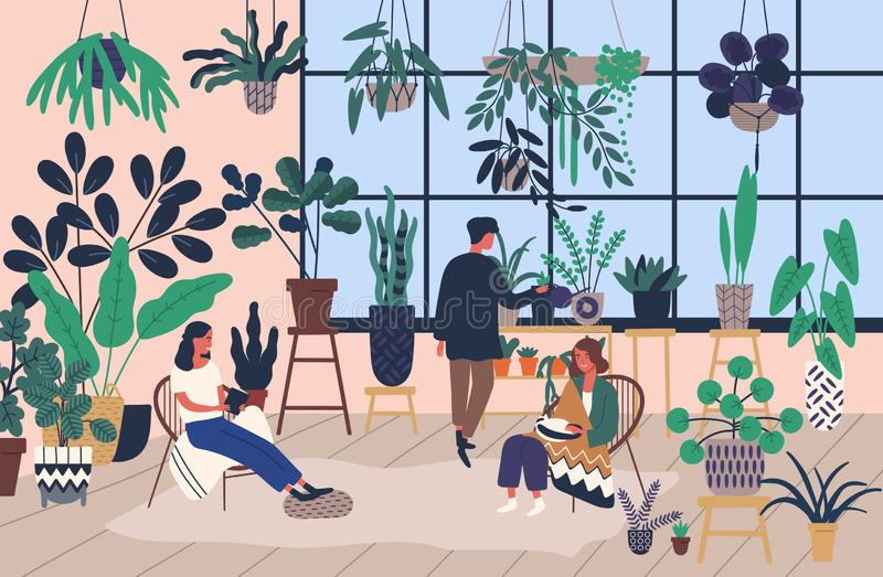 Group of people or friends spending time at greenhouse or home garden with plants growing in pots. Young men and women stock illustration