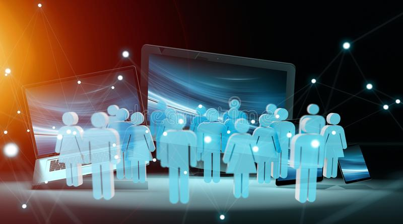 Group of people in front of modern devices 3D rendering vector illustration