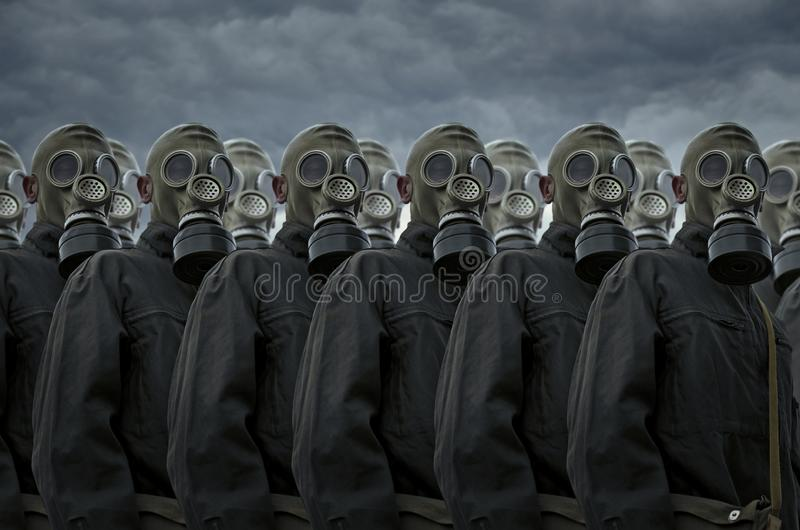 Group of people in gas mask royalty free stock photos