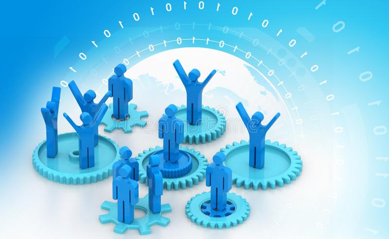 Group of people on gear vector illustration