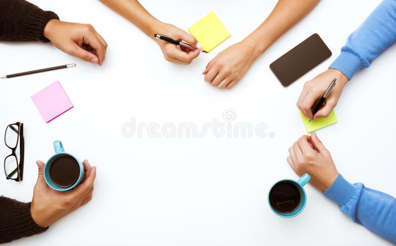 Group of people hands table work space concept royalty free stock photo