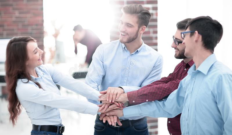 Group of people hands together partnership teamwork. royalty free stock images