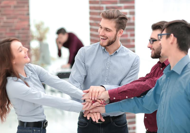 Group of people hands together partnership teamwork. royalty free stock photography