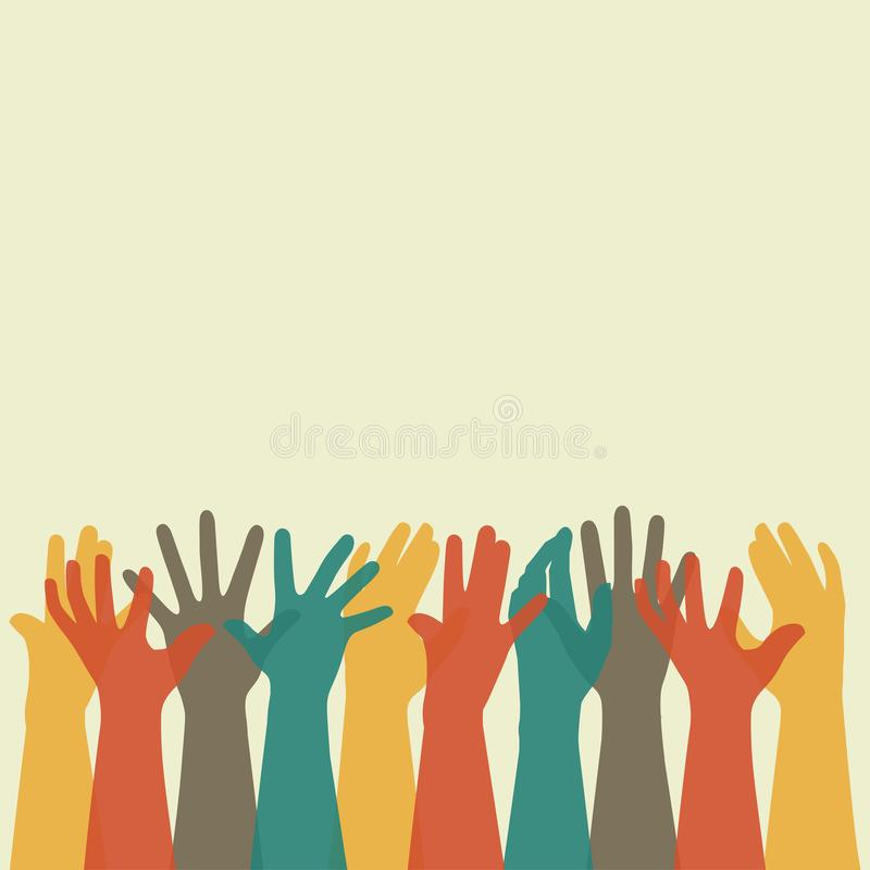 Free Group People Hands Up, Volunteer Or Voting Concept Background, Human Hand Stock Photography - 108675902