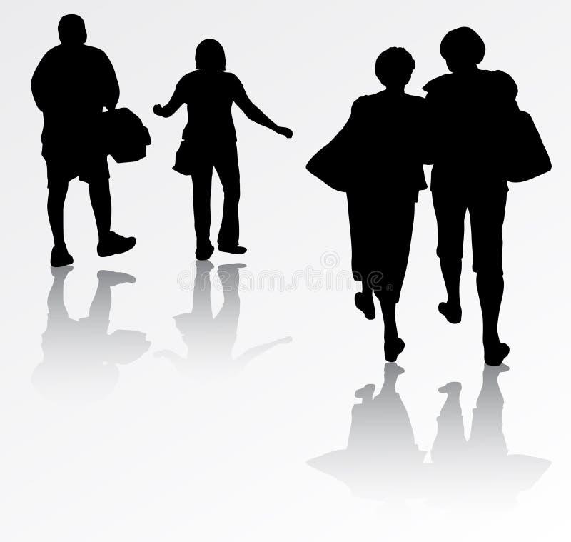 Group of people. Happy walking people vector illustration