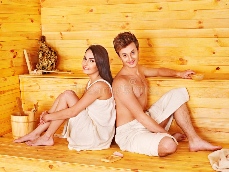 Download Group People In Hat  At Sauna. Stock Photo - Image: 28880694
